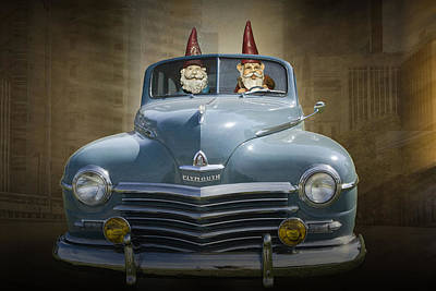 Photograph - Cruising Gnomes In A Vintage Plymouth by Randall Nyhof