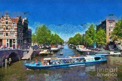 Amsterdam Painting - Cruising In Amsterdam by George Atsametakis