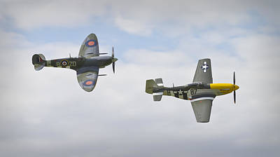 Ferocious Frankie Photograph - Cruising Spitfire And Mustang  by Maj Seda