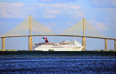Sunshine Skyway Bridge Wall Art - Photograph - Cruising Tampa Bay by David Lee Thompson