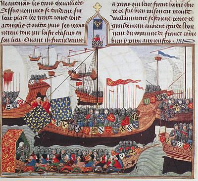 Crusader Painting - Crusader Flotilla by Granger