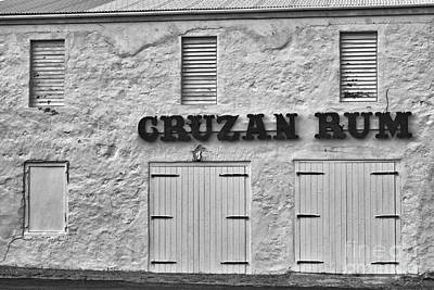 Cruzan Rum Building In Black And White Art Print by Iris Richardson