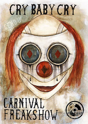 Evil Clown Painting - Cry Baby Cry by Maria Forrester