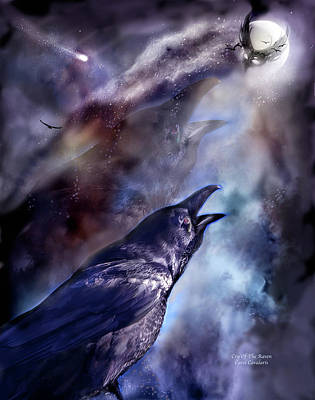 Cry Of The Raven Art Print by Carol Cavalaris