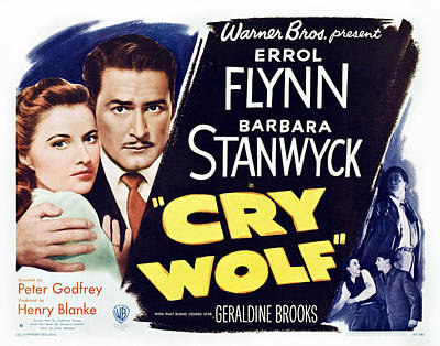 Cry Wolf, Us Lobbycard, From Left Art Print by Everett