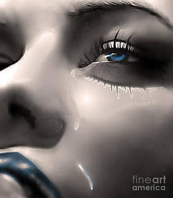 Tear Drawing - Cryin Da Blues by Tbone Oliver