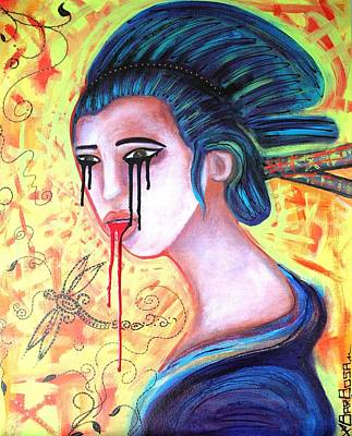 Crying Painting - Crying Geisha Tears by Laura Barbosa
