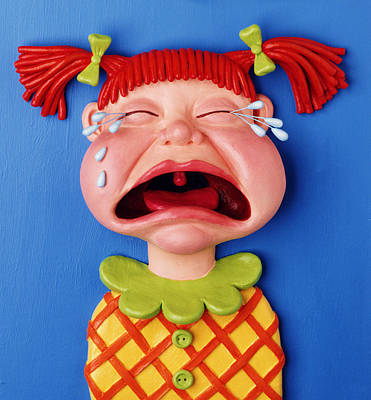 Comics Mixed Media - Crying Girl by Amy Vangsgard