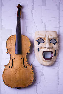 Crying Mask With Violin Art Print by Garry Gay