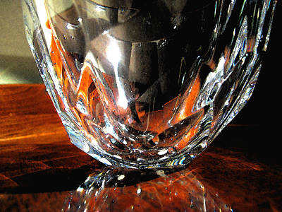 Art Print featuring the photograph Crystal Bowl With Watercolor Filter by Mary Bedy
