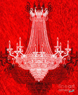 Crystal Chandelier On Red Art Print by Jon Neidert