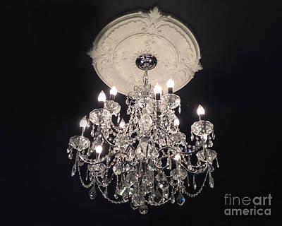 Crystal Chandelier - Paris Black And White Chandelier - Sparkling Elegant Chandelier Opulence Art Print by Kathy Fornal
