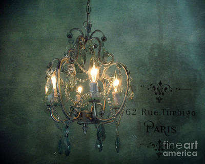 Photograph - Crystal Chandelier - Paris Dreamy Teal Chandelier - Sparkling Romantic Teal Chandelier Opulence by Kathy Fornal