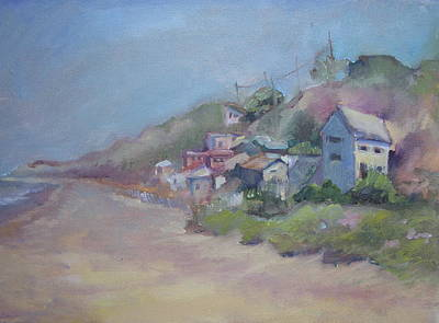 Laguna Beach Painting - Crystal Cove Cottages by Linda  Wissler