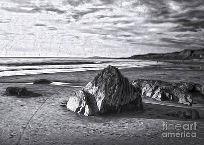 Art Print featuring the painting Crystal Cove Sea Shore - Black And White by Gregory Dyer