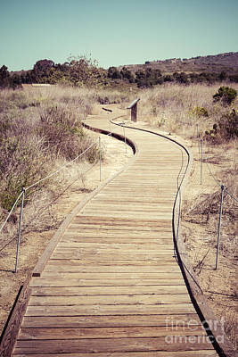 Crystal Cove Photograph - Crystal Cove Wooden Walkway Vintage Photo by Paul Velgos