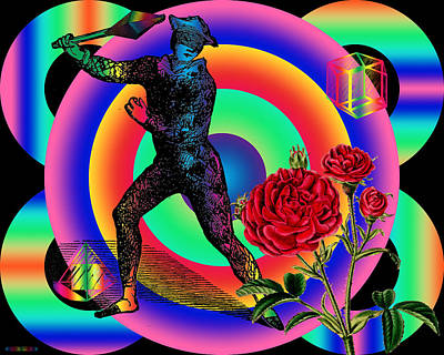 Digital Art - Crystal Harlequin Versus The Rose by Eric Edelman