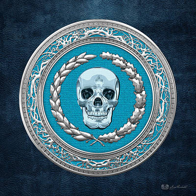 Digital Art - Crystal Human Skull On Blue by Serge Averbukh