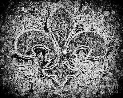 Crystal Ice Fleur De Lis On Black Art Print by Janine Riley