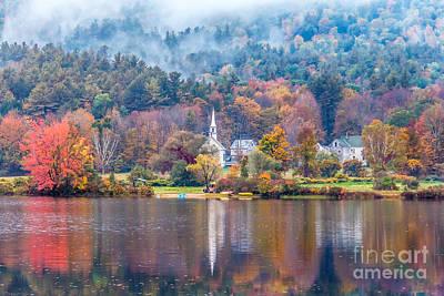 Photograph - Crystal Lake Autumn Fog by Susan Cole Kelly