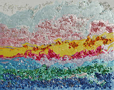 Modern Abstract Mixed Media - Crystal Landscape by Donna Blackhall