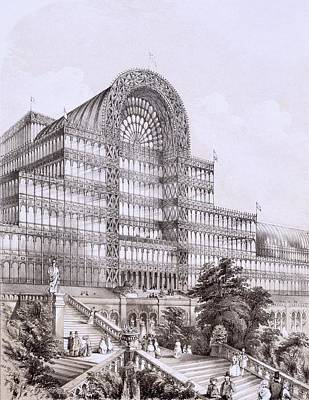 Glass Drawing - Crystal Palace At Sydenham, The Front by Thomas Hosmer Shepherd