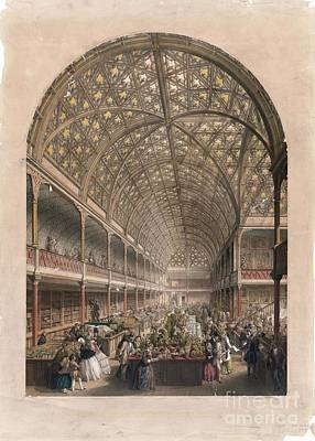 Coloured Glass Photograph - Crystal Palace Bazaar, London, 1850s by Library Of Congress