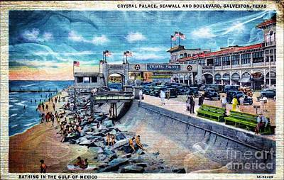 Photograph - Crystal Palace - Galveston - Vintage Postcard Art by Audreen Gieger