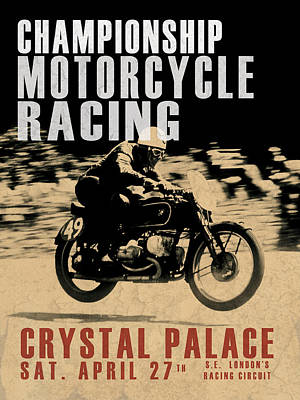 Crystal Palace Motorcycle Racing Art Print by Mark Rogan