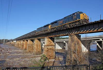Winter Animals - CSX Coal Train on a Bridge by Joseph C Hinson