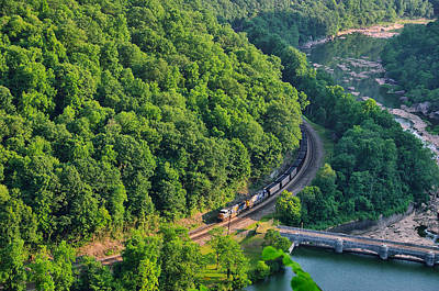 Photograph - Csx Train At Hawks Nest Dam by Mary Almond