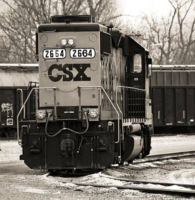 Photograph - Csx Train In Winter Sepia by Dan Sproul