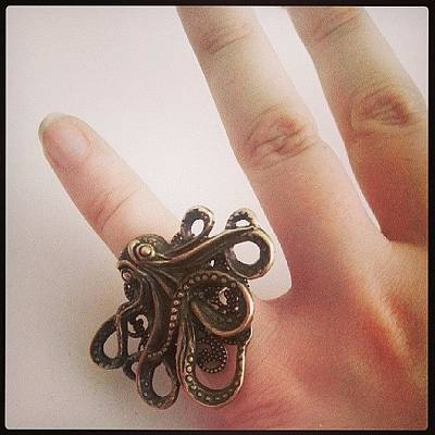 Steampunk Wall Art - Photograph - #cthulhu #ring ♥ #octopus #jewelry by Daniela Barisone