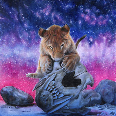 Nightsky Painting - Cub And Skull by David Starr