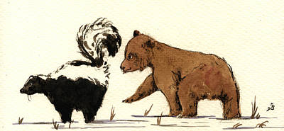 Cub Bear Playing With Skunk Original