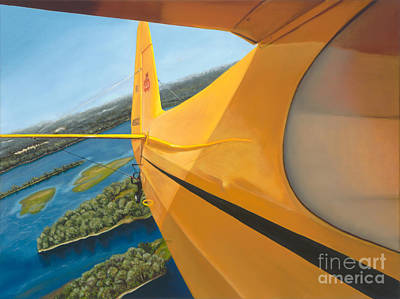 Piper Cub Painting - Cub Over The Mississippi by Pati O'Neal