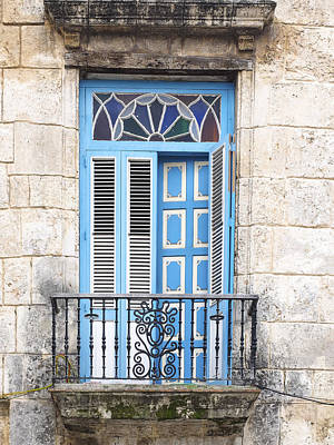 Photograph - Cuba - Blue-white Door Image Art By Jo Ann Tomaselli by Jo Ann Tomaselli