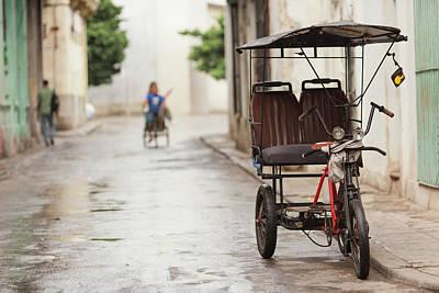 Cuba Photograph - Cuba, Havana, Havana Vieja, Pedal Taxi by Walter Bibikow