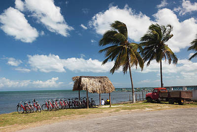 Beach Bicycle Photograph - Cuba, Pinar Del Rio Province, Puerto by Walter Bibikow