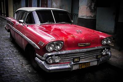 Antique Automobiles Photograph - Cuban Vintage Red by Karen Wiles