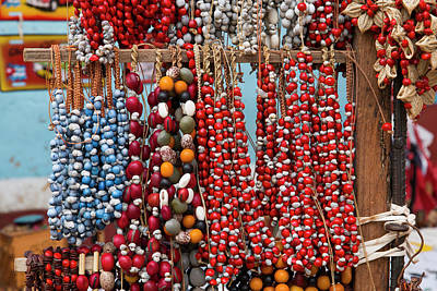 Colorful Beads Photograph - Cuba, Trinidad Beaded Necklaces by Emily Wilson