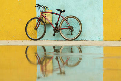 Cuba, Trinidad Bicycle And Reflection Art Print