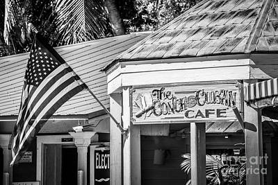 Red White And Blue Photograph - Cuban Cafe And American Flag Key West - Black And White by Ian Monk