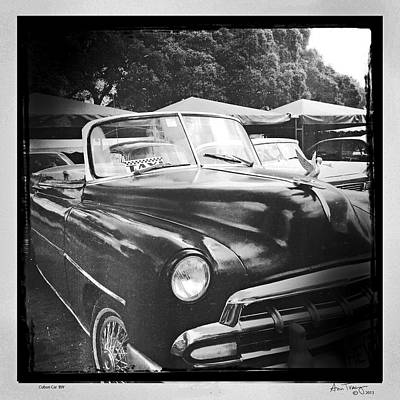 Photograph - Cuban Car Black And White by Ann Tracy