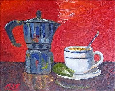 Painting - Cuban Coffee Lime Red by Maria Soto Robbins