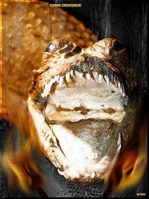 Art Print featuring the digital art Cuban Crocodile by Daniel Janda