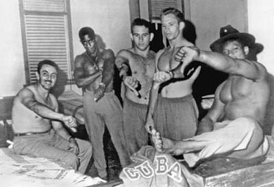 Bare-chested Photograph - Cuban Team Defects by Underwood Archives