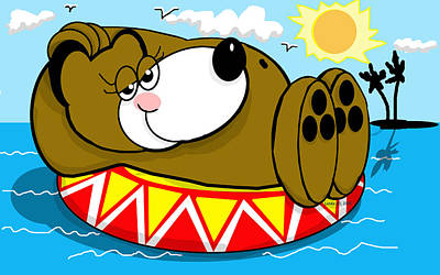 Inflatable Drawing - Cubby On Vacation by Londie Benson
