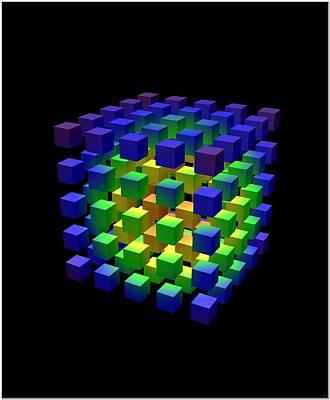 Art Print featuring the digital art Cube Of Cubes... by Tim Fillingim