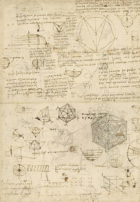 Plans Drawing - Cube Sphere Icosahedron Mention Of Known Project For Telescope  by Leonardo Da Vinci